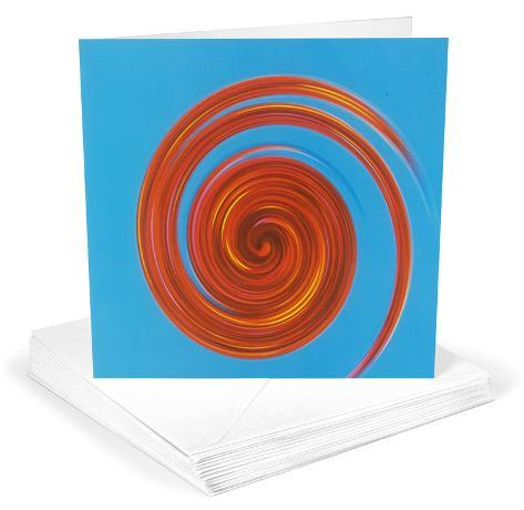Michael Banks Whirl No 3 Red on Sky Blue Greeting Cards 12 Per Package Note Card Sets