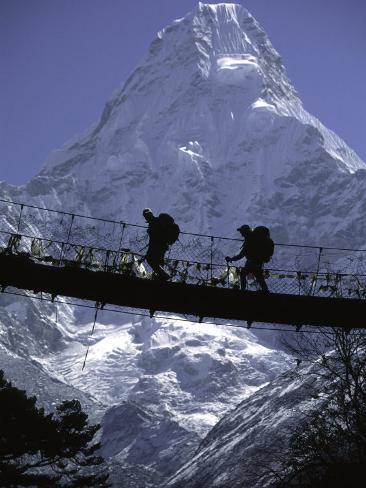 Bridge in Ama Dablam, Nepal Photographic Print