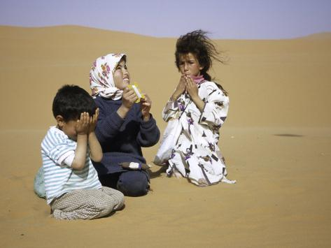 Children in Desert, Morocco Photographic Print