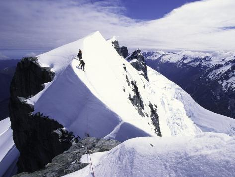 Close up of Climbers on Mt. Aspiring, New Zealand Photographic Print