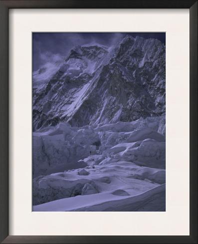 Khumbu Ice Fall and Everest Landscape, Nepal Framed Art Print