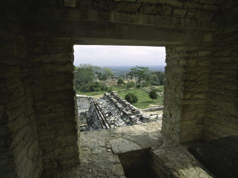 Looking out of the Ruins Over Palenque, Mexico Photographic Print