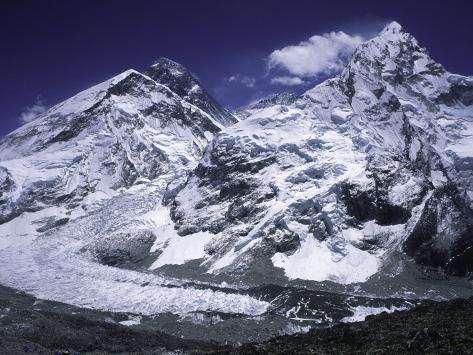 Mount Everest and Ama Dablam Seperated by a Glacier, Nepal Photographic Print