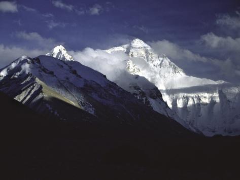 Shadowed Ridge Line Towards Mount Everest, Tibet Photographic Print