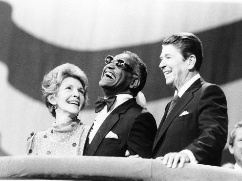 Ray Charles, Ronald Reagan, Nancy Reagan - 1984 Valokuvavedos