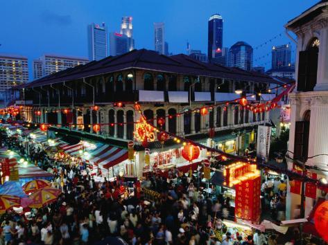Chinatown District at Dusk, Singapore, Singapore Photographic Print