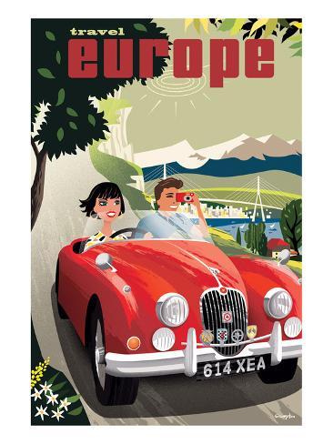 Travel Europe, Red Jaguar Art Print