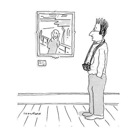 Man looking at Munch's scream with tape recorder-guide with his hair stand… - New Yorker Cartoon Premium Giclee Print