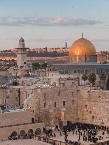 Dome of the Rock and the Western Wall, Jerusalem, Israel, Middle East Photographic Print