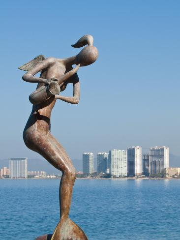 Mermaid Angel Playing Saxophone Sculpture on the Malecon, Puerto Vallarta, Jalisco, Mexico, North A Photographic Print