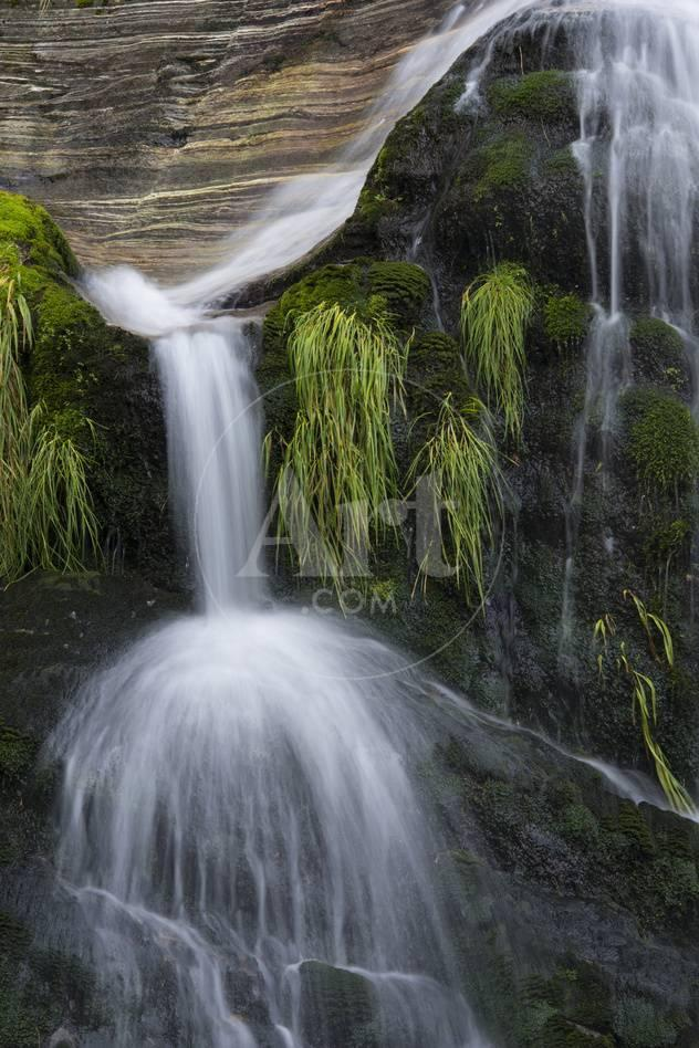 A Waterfall On Milford Track In Fiordland National Park