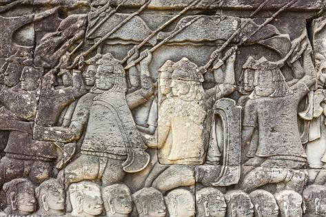 Bas relief carvings in bayon temple in angkor thom photographic