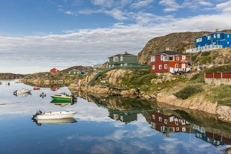 Calm Waters Reflect the Brightly Colored Houses in Sisimiut, Greenland, Polar Regions Photographic Print
