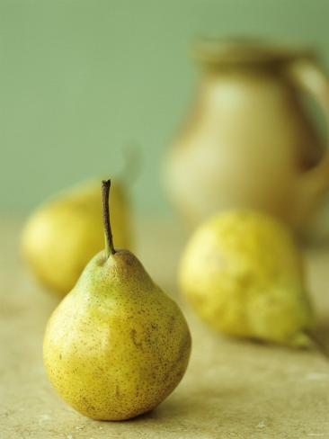 Three Pears, a Jug Behind Photographic Print