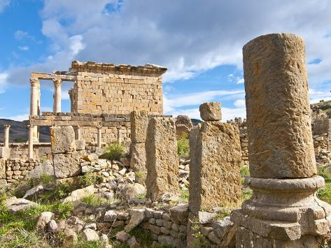 Basilica and Temple Des Septimes at the Roman Ruins of Djemila, Algeria, North Africa, Africa Photographic Print