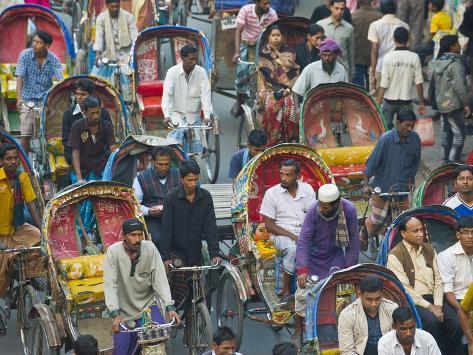 Busy Rickshaw Traffic on a Street Crossing in Dhaka, Bangladesh, Asia Photographic Print