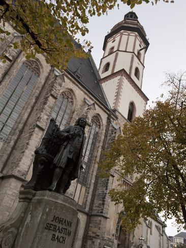 Statue of Bach, Thomaskirche, Leipzig, Saxony, Germany, Europe Photographic Print