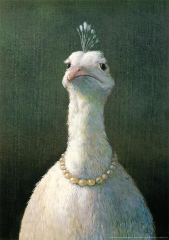 Fowl with Pearls Mounted Print