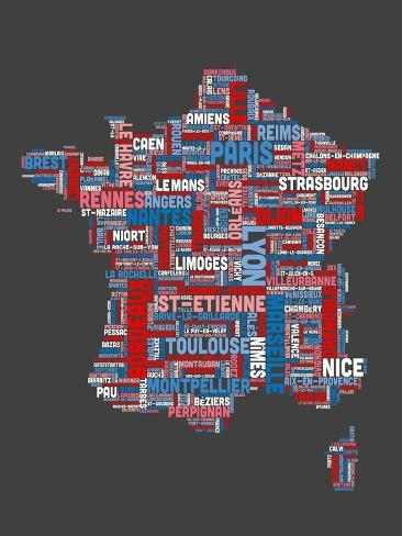 The Map Of France With The City.City Text Map Of France
