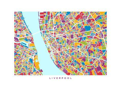 Liverpool England City Street Map Print by Michael Tompsett - at ...