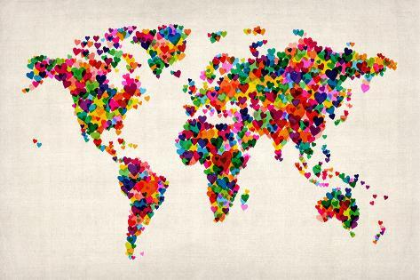 love hearts map of the world map prints by michael tompsett at