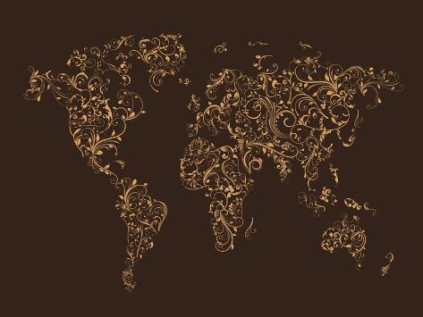 Map of the world map floral swirls poster by michael tompsett at map of the world map floral swirls gumiabroncs Image collections