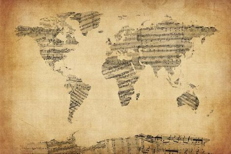 Map of the world map from old sheet music prints by michael tompsett map of the world map from old sheet music gumiabroncs Image collections