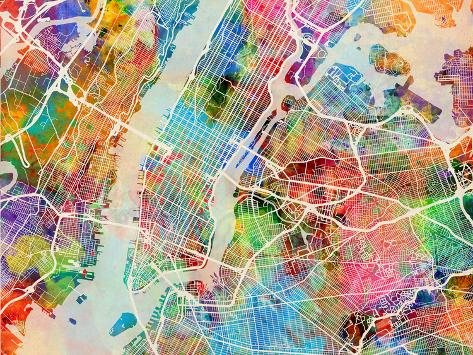 New York City Street Map Prints By Michael Tompsett At AllPosterscom - Map of new york city streets