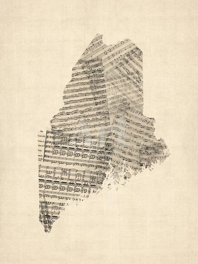 Old Maine Map.Old Sheet Music Map Of Maine Prints By Michael Tompsett At