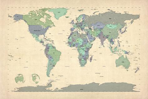 Political map of the world map print by michael tompsett at political map of the world map gumiabroncs Image collections