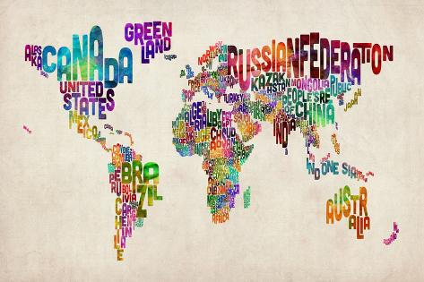 Typographic Text World Map Art Print