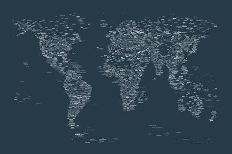 World map of cities prints by michael tompsett at allposters world map of cities gumiabroncs Image collections