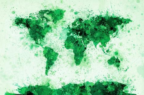 World map paint splashes posters by michael tompsett at allposters world map paint splashes gumiabroncs Image collections