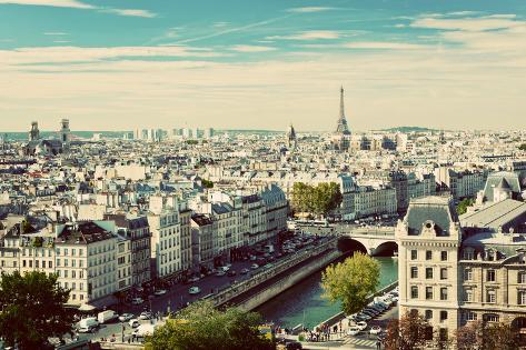 Paris Panorama, France. View on Eiffel Tower and Seine River from Notre Dame Cathedral. Vintage, Re Photographic Print