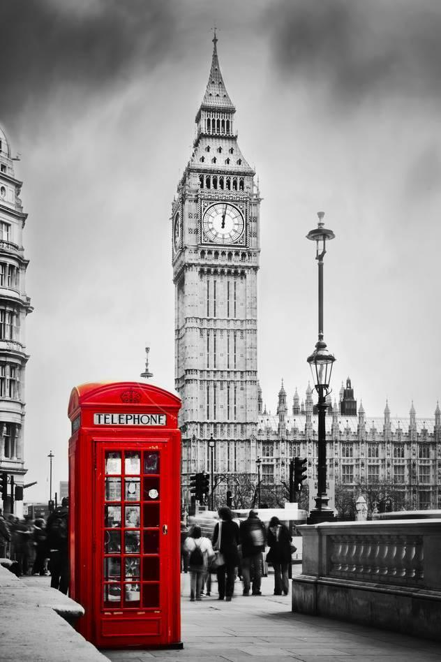 Red Telephone Booth and Big Ben in London, England, the Uk. People ...