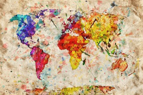 Vintage world map colorful paint watercolor retro style vintage world map colorful paint watercolor retro style expression on grunge old gumiabroncs Choice Image
