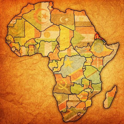 Erytrea on Actual Map of Africa Art Print