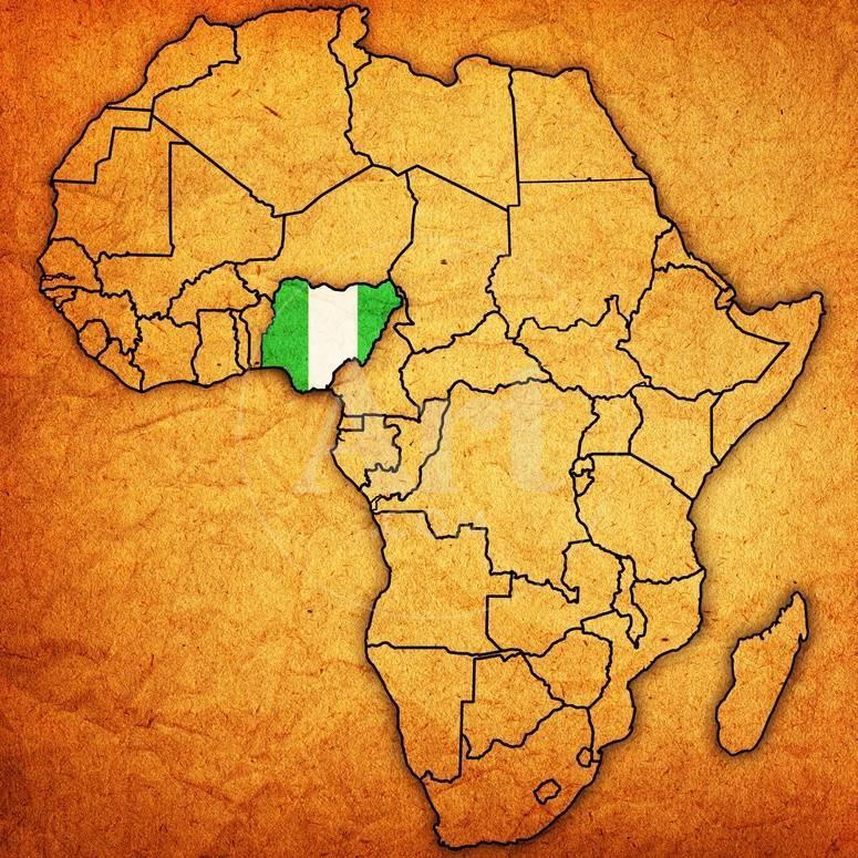 Nigeria On Actual Map Of Africa Art By Michal812 At Allposters Com