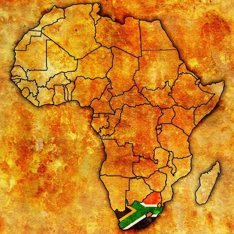 South Africa on Actual Map of Africa Art Print