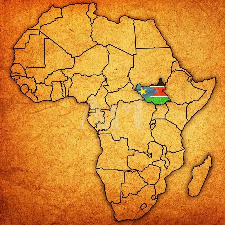 South sudan on actual map of africa prints by michal812 at privacy preference centre gumiabroncs Image collections