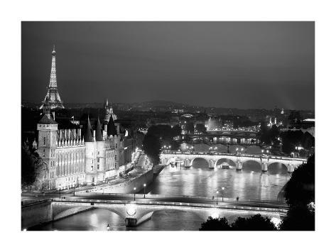 Paris and Seine river at night Giclee Print