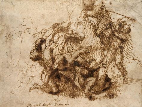Fight Study for the 'Cascina Battle', 1504 Lámina giclée