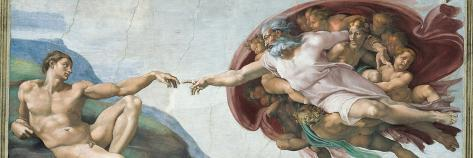 Sistine Chapel Ceiling, God to uches Adam with His Finger Taidevedos