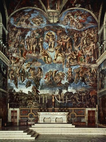 Sistine Chapel with the Retable of the Last Judgement (Fall of the Damned) Giclee Print