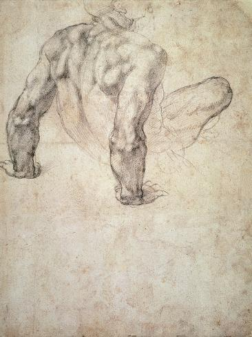 W.63R Study of a Male Nude, Leaning Back on His Hands Giclee Print