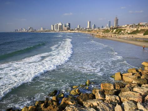 Beach and Tel Aviv from Jaffo Old Port, Israel Photographic Print