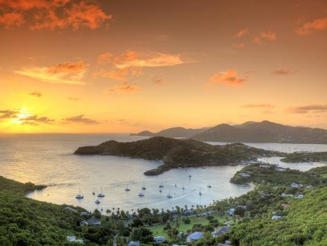 Caribbean, Antigua and Barbuda, English Harbour from Shirley's Heights Photographic Print