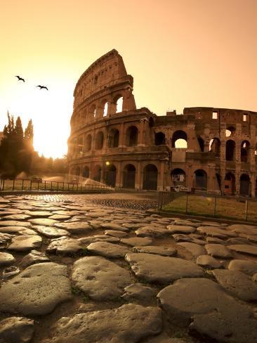 Colosseum and Via Sacra, Sunrise, Rome, Italy Photographic Print