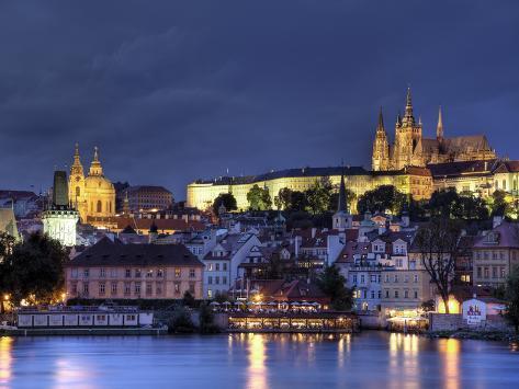 Czech Republic, Prague, Stare Mesto (Old Town), Charles Bridge, Hradcany Castle and St. Vitus Cathe Photographic Print