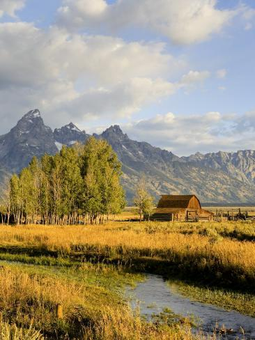 Historic Barn, Mormon Row and Teton Mountain Range, Grand Teton National Park, Wyoming, USA Photographic Print